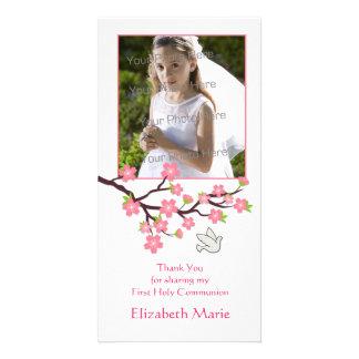 Flores de cerejeira cor-de-rosa, pomba, cartão com cartão com foto