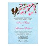 Flores de cerejeira e pássaros do amor que Wedding Convite Personalizados