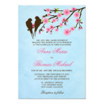 Flores de cerejeira e pássaros do amor que Wedding Convite 12.7 X 17.78cm