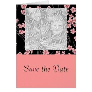 Flores de cerejeira no cartão com fotos preto