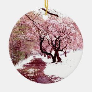 Flores de cerejeira no ornamento da neve