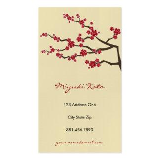 Flores de cerejeira orientais vermelhas do zen de cartao de visita