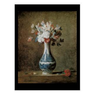 Flores de Chardin em um vaso azul Cartao Postal