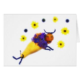 Flores de $ do búfalo do vegetariano cartão comemorativo