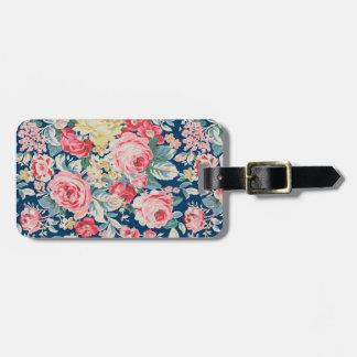 Flores de florescência modernas adoráveis bonitos etiqueta de bagagem
