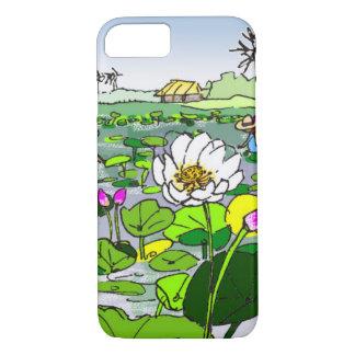 Flores de lótus bonitos na capa de telefone da
