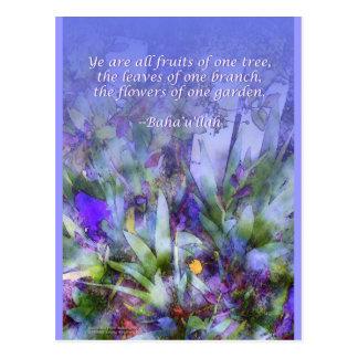 Flores de um cartão de Baha'i do jardim