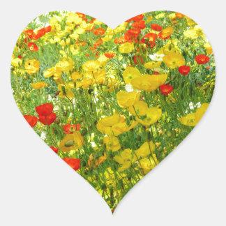 flores diferentes multicolores no jardim adesivo de coração