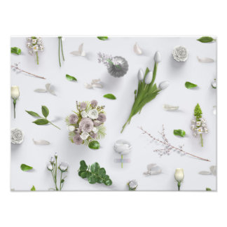Flores dispersadas brancas impressão de foto