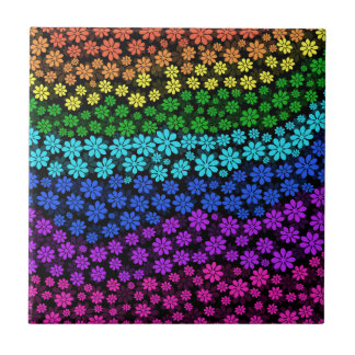 Flores do arco-íris azulejo quadrado pequeno