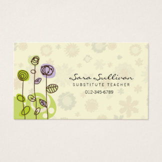 Flores do Doodle do cartão de visita do professor