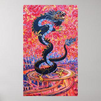 Flores do dragão sobre o poster da cidade pôster