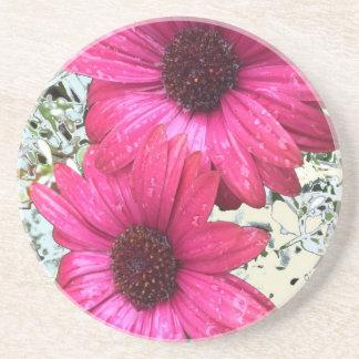 Flores do jardim - rosa porta copos de arenito