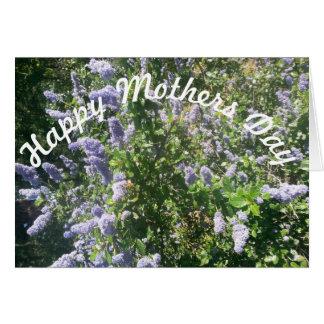 Flores do lilac do dia das mães cartão comemorativo