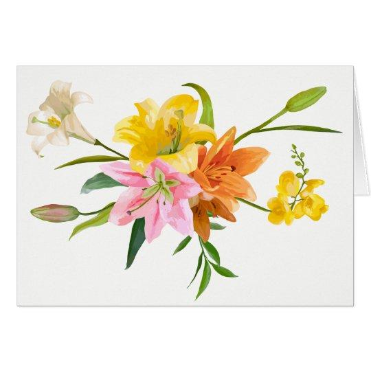 Flores do lírio da aguarela - amor, pensando de cartão