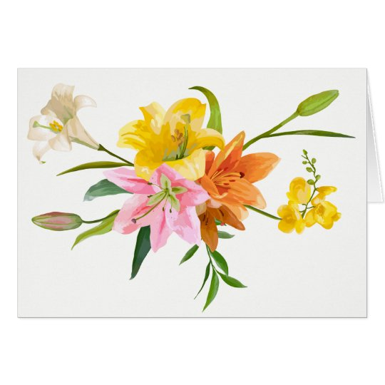 Flores do lírio da aguarela - amor, pensando de cartão de nota