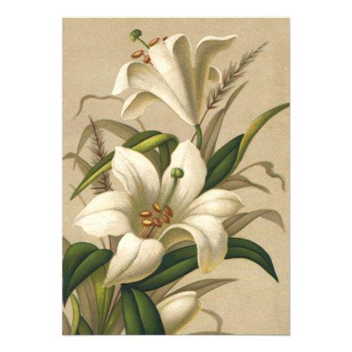 Flores do lírio de páscoa do Victorian do vintage  Convite Personalizados