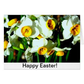 Flores do narciso para a páscoa cartão comemorativo