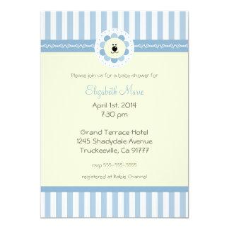 Flores do país e chá azuis do Leão-Bebê Convite 12.7 X 17.78cm