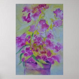 flores do poster da cor de água