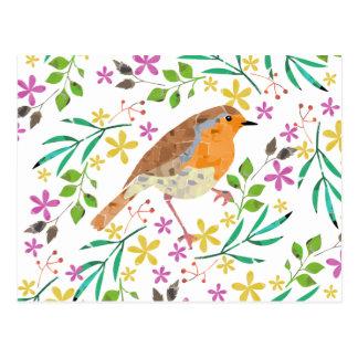 Flores do primavera e pássaro do pisco de peito cartão postal