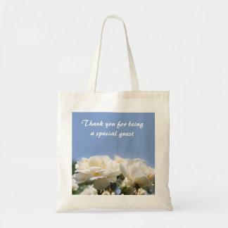 flores do rosa branco que wedding o obrigado do sacola tote budget