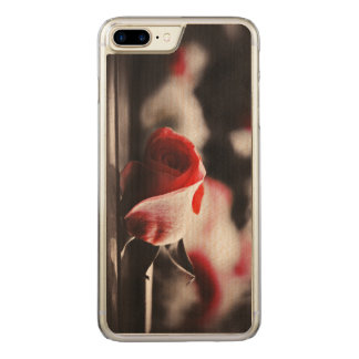 Flores do rosa do rosa do vintage capa iPhone 7 plus carved