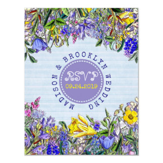 Flores do roxo do vintage dos Wildflowers do Convite 10.79 X 13.97cm