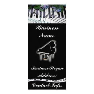 Flores do teclado de piano e notas da música 10.16 x 22.86cm panfleto