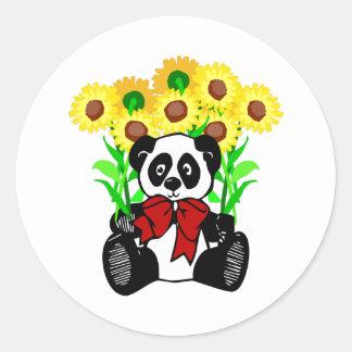 Flores do urso de panda adesivo redondo