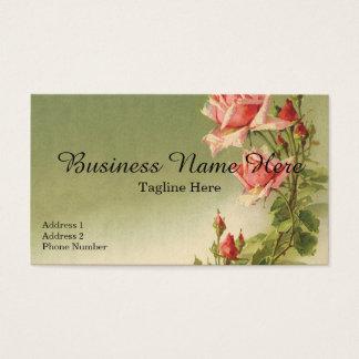 Flores do Victorian do vintage, rosas cor-de-rosa Cartão De Visitas