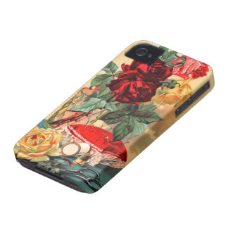 Flores do vintage & capas de iphone sewing capas para iPhone 4 Case-Mate