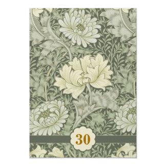 flores do vintage do aniversário de casamento convite 12.7 x 17.78cm