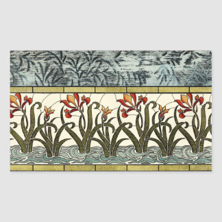 Flores do vitral com beira de Tan Adesivo Retangular