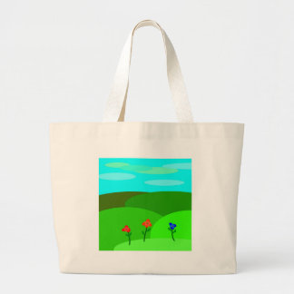 Flores dos desenhos animados bolsa de lona