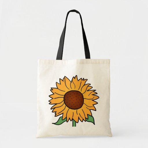 Flores dos desenhos animados, girassol floral do v bolsa para compras