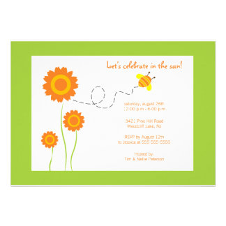 Flores e abelha - convite de festas do verão