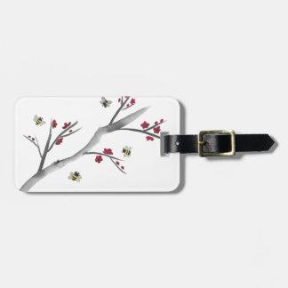 Flores e abelhas etiqueta de bagagem