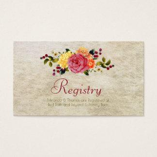 Flores e bagas, cartões de registo