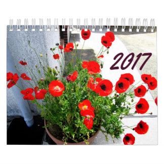Flores e calendário 2017 das árvores