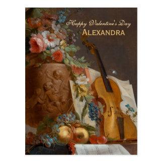 Cartão Postal Flores e cartão dos namorados do violino CC0641