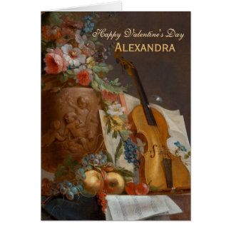 Cartão Flores e cartão dos namorados do violino CC0642