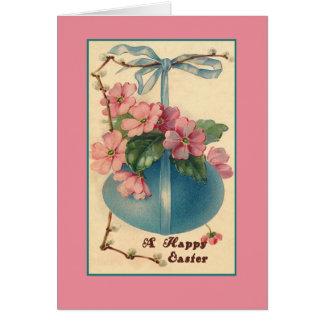 Flores e cartões de páscoa do vintage do ovo da pá