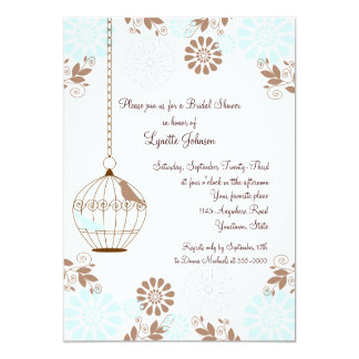 Flores e chá de panela da gaiola de pássaro convite 12.7 x 17.78cm
