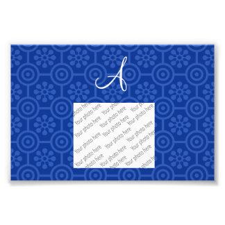 Flores e círculos retros azuis do monograma foto artes