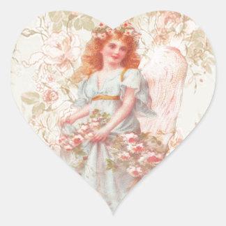 Flores e colagem do vintage do anjo adesivo coração