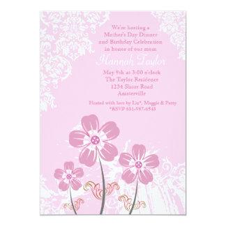 Flores e convite do dia das mães do laço