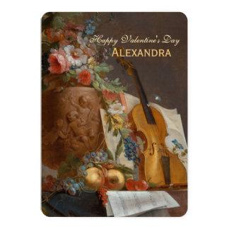 Flores e cumprimento dos namorados do violino convite 12.7 x 17.78cm