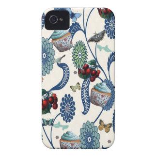 Flores e cupcakes azuis capa para iPhone