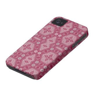 Flores e formas no vermelho da framboesa capinhas iPhone 4